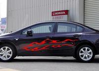 HotMeiNi 195CM*34CM 2 X Car Racing flames Blaze Fire Door Decal Vinyl Motor Sticker Graphics Car Stickers