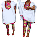 Traditional African Clothing for Women Pants Suit Long African Print Robes Short Sleeve Dashiki Women Robes 6XL BRW WY1005