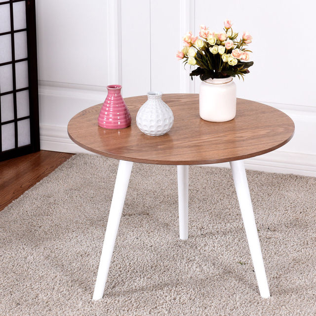 Giantex Modern Round Coffee Table Side Tea End Table Pine Wood Furniture  Dining Living Room Tables