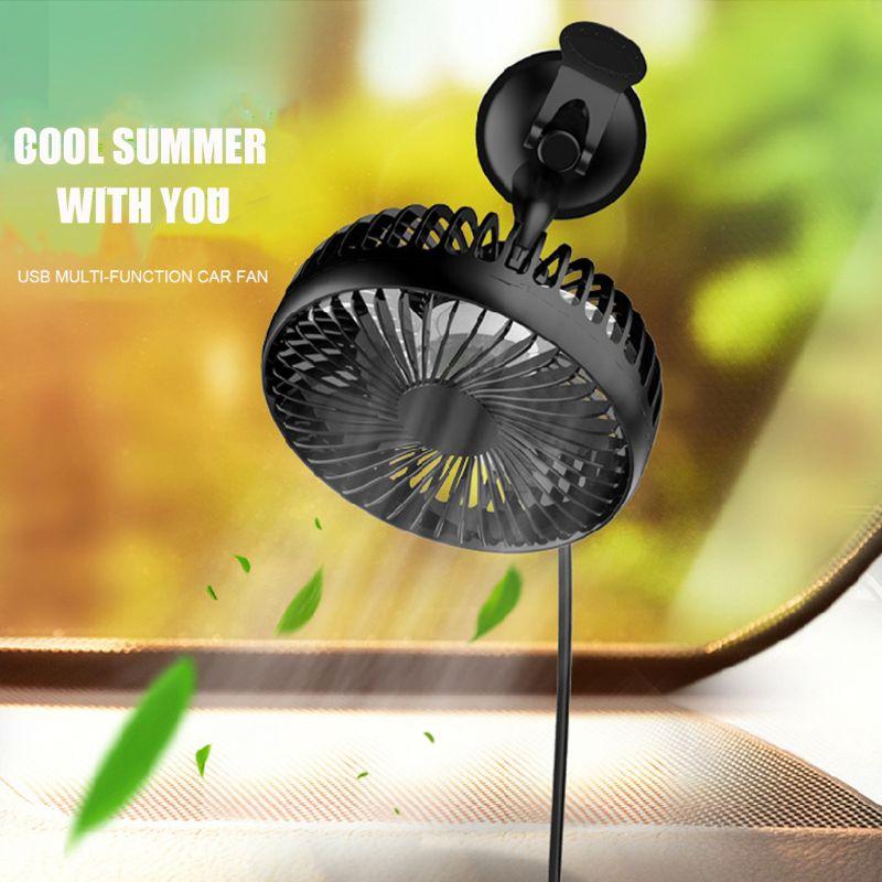 Suction Cup Single Head 5.5 Inch Car Fan 12V24V Universal Large Wind Three Speed Control USB Car Fan