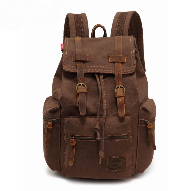 где купить AUGUR New fashion men's backpack vintage canvas backpack school bags men's travel bags male large capacity travel laptop bag дешево