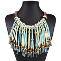 2016 New Koly Statement Multilayer Tassel Necklace Women Crystal Necklace Bohemian Boho Necklace Big Maxi Neckalce Nickel Free