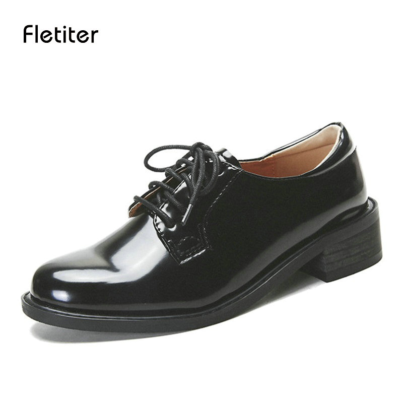 Fletiter Flats British Style Oxford Shoes Women Spring Leather Oxfords Flat Heel Casual Shoes Lace Up Womens Shoes Retro Brogues beffery 2018 british style patent leather flat shoes fashion thick bottom platform shoes for women lace up casual shoes a18a309