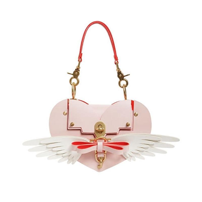 2018 hot fashion handbag Love shape Bow Wings Studded Bag Lock Love Pocket Messenger Bag cool