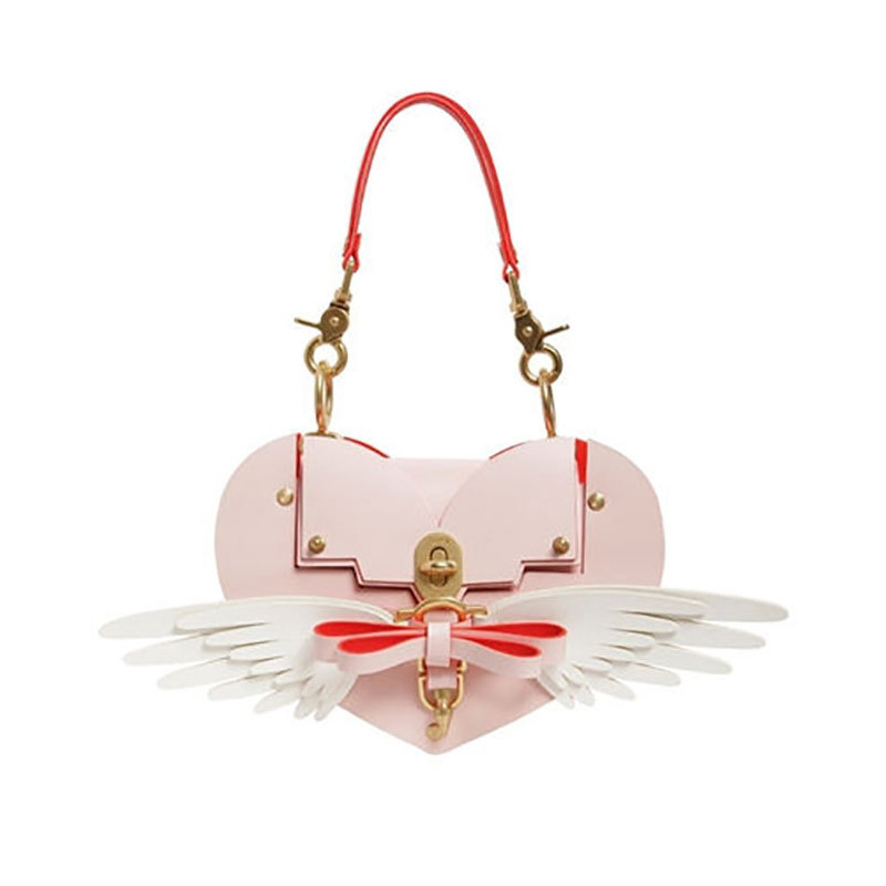 2018 Heißer Mode Handtasche Liebe Form Bogen Flügel Verzierte Tasche Schloss Liebe Tasche Messenger Bag Kühlen Schulter Tasche Heiße Mode Leder
