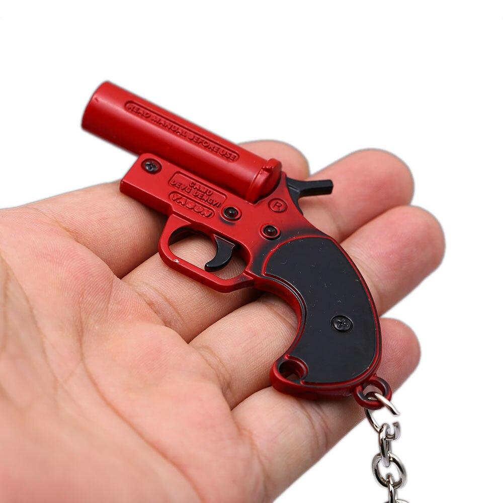 HSIC Game Playerunknown's Battlegrounds PUBG Keychain Flare Gun Metal Pendant Keyring Holder Fans Men Cosplay Jewelry HC12860