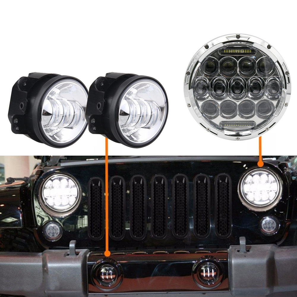 7 LED Halo Headlights For Jeep Wrangler JK JKU TJ LJ Rubicon Sahara Unlimited White DRL Amber Turn Signal + 4 '' Halo Fog Light bruder внедорожник jeep wrangler unlimited rubicon цвет бордовый