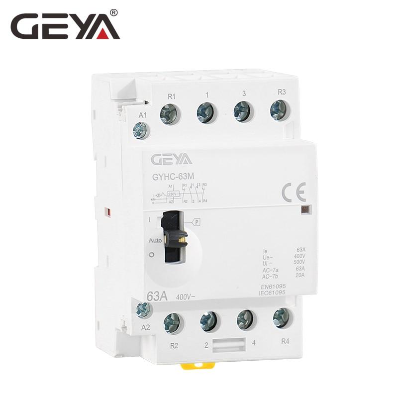 Livraison Gratuite GEYA GYHC 4 P 40A 63A 2NC2NO 220 V/230 V 50/60 HZ Rail Din ménage AC Contacteur Modulaire Opération Manuellement