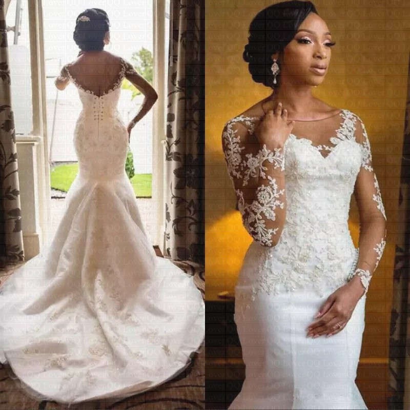 New African Sheer Lace Wedding Dress 2020 Sexy Backless Sweep Train Bridal Gowns Vestido De Novia