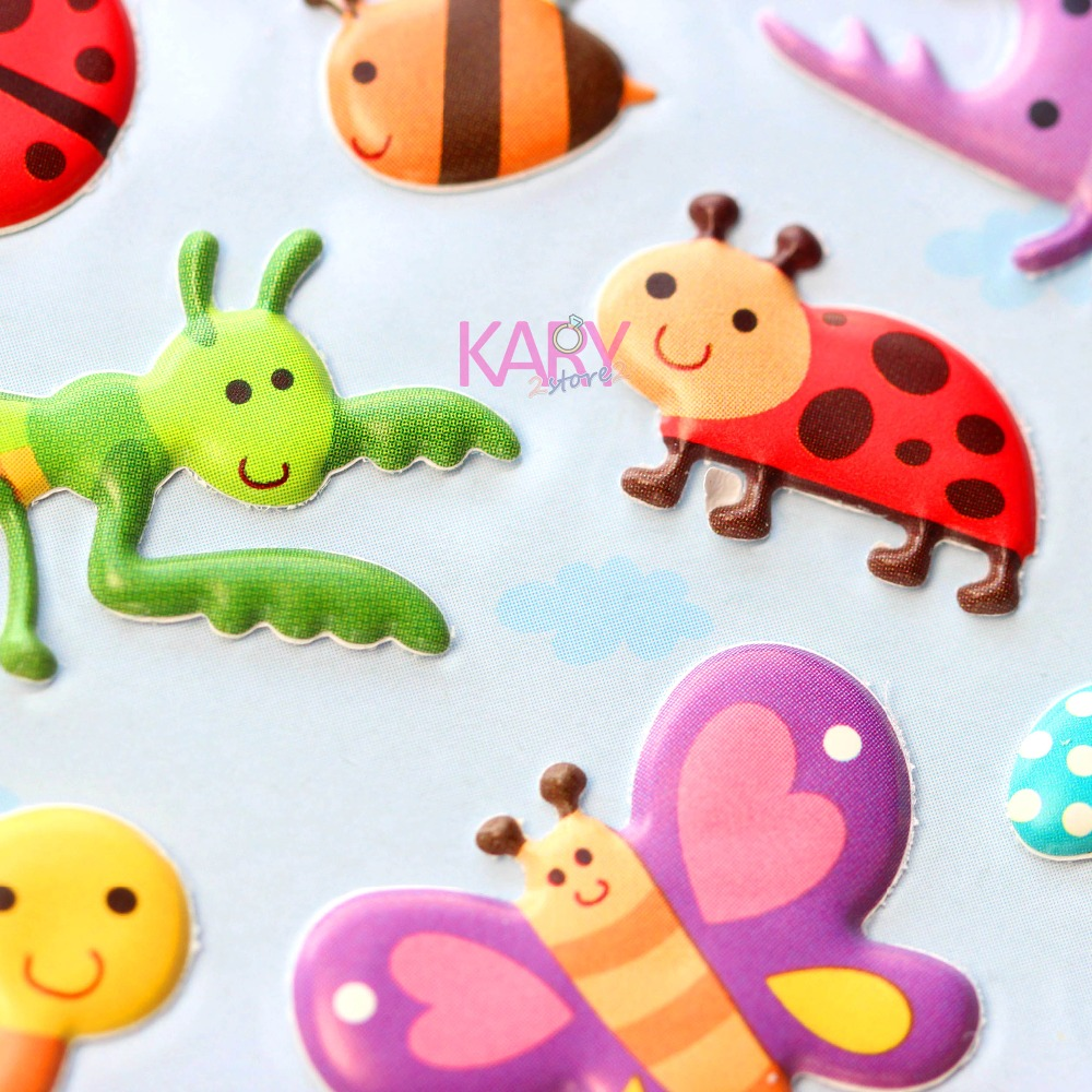 Cute Lovely Animal Insects Butterflies Ladybird Snail Bee Bubble Stickers Scrapbooking Kawaii Emoji Reward Kid Toys For ChildrenCute Lovely Animal Insects Butterflies Ladybird Snail Bee Bubble Stickers Scrapbooking Kawaii Emoji Reward Kid Toys For Children
