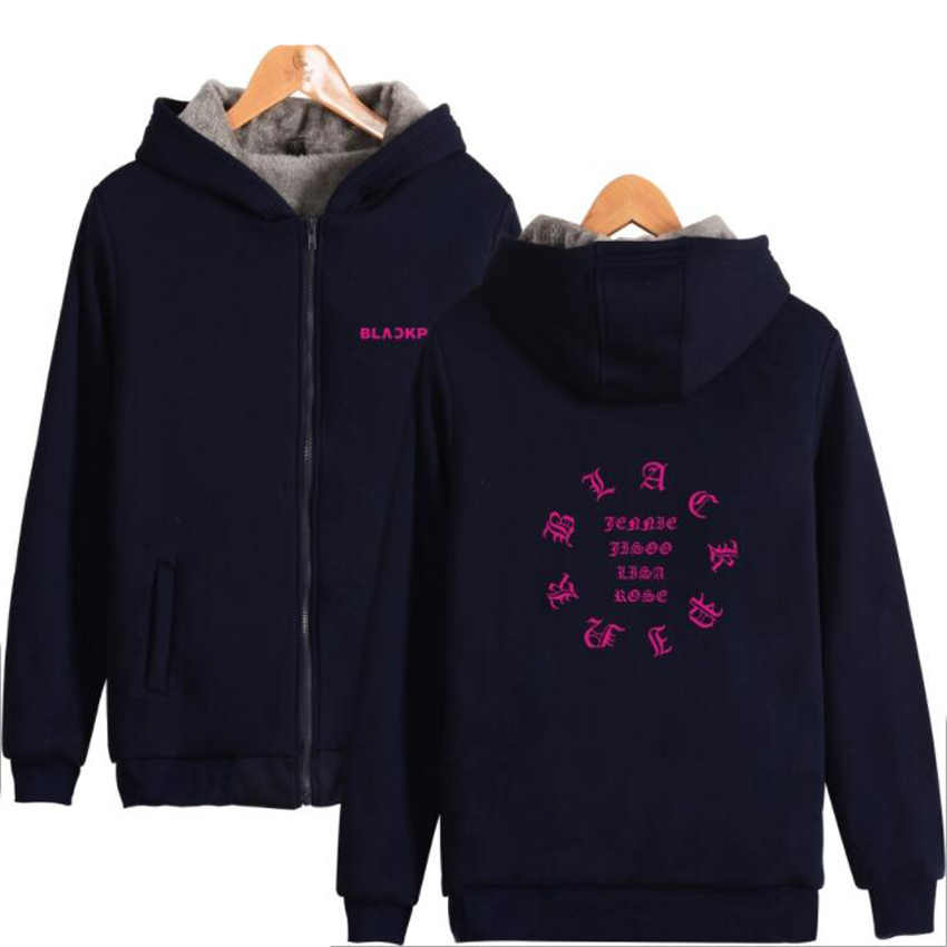 Winter Jacket Women 2018 Korean KPOP Blackpink JISOO JENNIE ROSE LISA Thickening Warm Hooded Zipper Sweatshirt Hoodies Plus Size