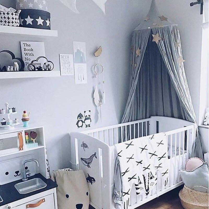 Lit bébé rond tente rideaux coton bébé berceau filets/moustiquaires Anti moustique princesse baldaquin lit cantonnière enfants chambre décoration