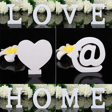 1pcs 8cm White Wooden Letter English Alphabet DIY Personalised Name Design Home Art Craft Heart letras Wedding Decor Accessories