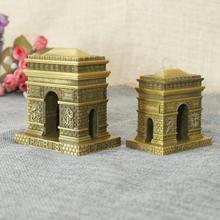 Vintage retro clásico de París Arco del Triunfo hecho a mano artesanía de metal modelo para el hogar Café bar adornos Decoración