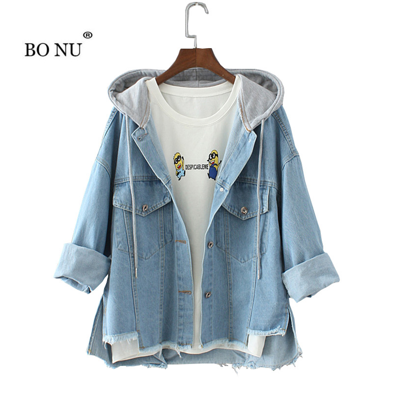 BONU Autumn Hooded Loose Denim Jacket For Women Letter Printed Harajuku Female Coat BF female bomb Autumn Jeans Jacket Women