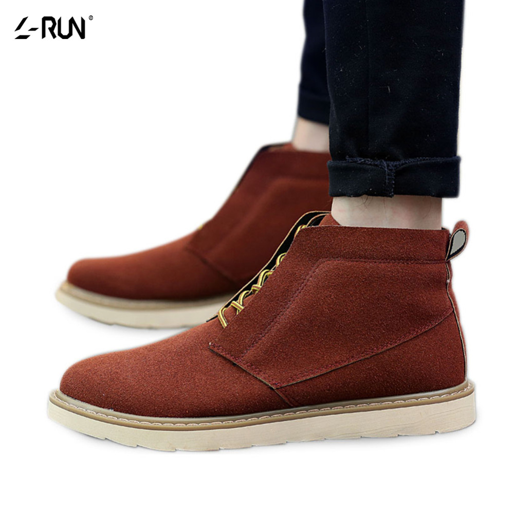 Mens Shoes Casual High Top Cow Suede Men Black/Brown Winter Men's Lace-up Comfortable Zapatos Hombre