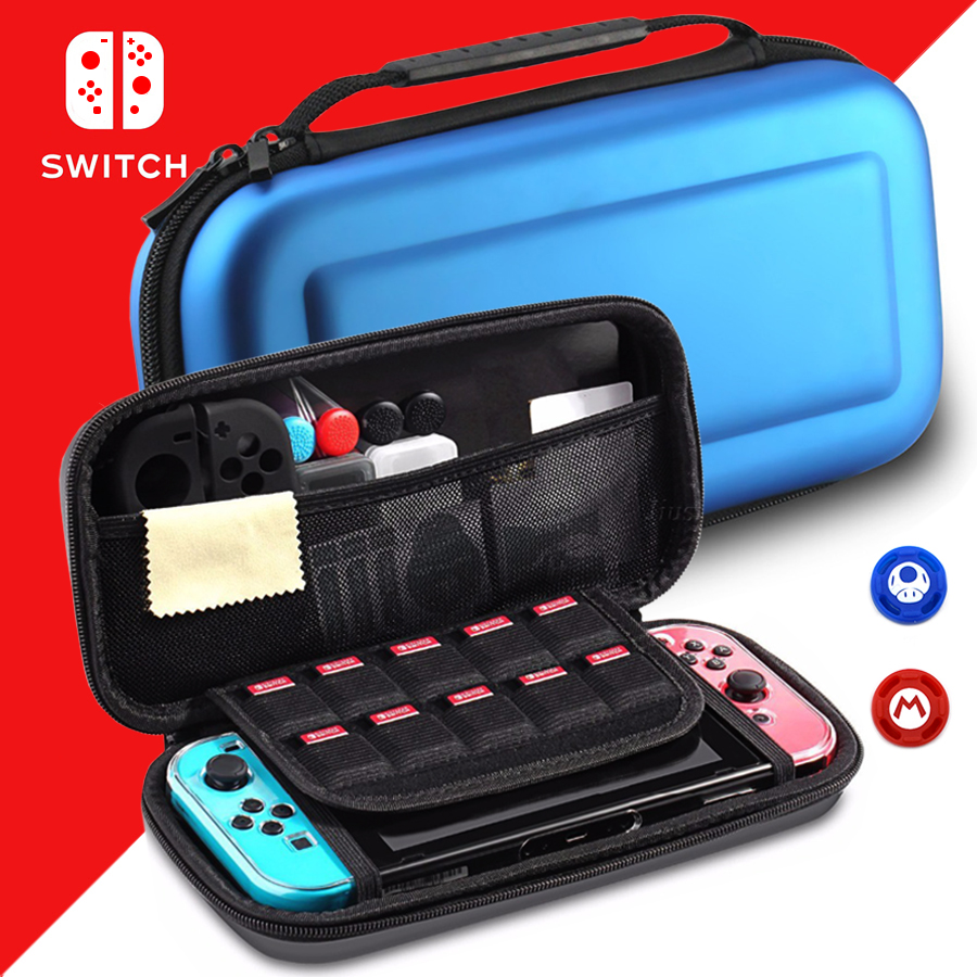 Nintend Switch Console Carrying Protective Case NS Accessories Travel Storage Bag with 2 Thumbstick Grip Cap for Nintendo Switch