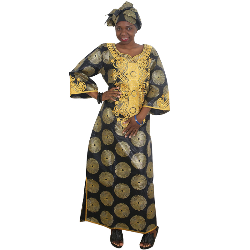 MD Bazin Riche African Dresses For Women Gold Embroidery Dress South Africa Plus Size Maxi Dress Lady's Traditional Clothes Wear