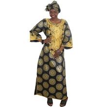 MD バザンリッシュアフリカ女性のためのゴールド刺繍ドレス南アフリカプラスサイズマキシドレス女性の伝統的な服着用
