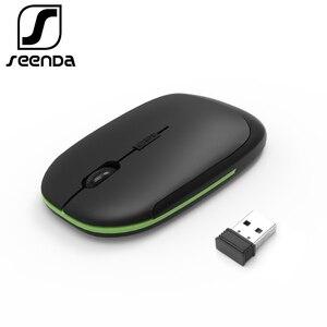 Image 1 - SeenDa bezprzewodowa mysz USB nanoodbiornik 2.4G Super cienki mysz do laptopa Notebook PC dom i biuro przenośne ciche myszy