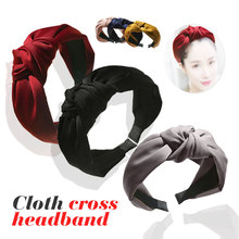 Fashion knotted headscarf Korean wide side fabric cross simple adult age reducing jewelry