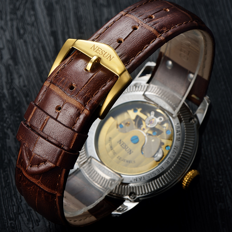 Luxury Brand Switzerland NESUN Skeleton Diamond Watch Men Automatic Self Wind Men 39 s Watches 100M Waterproof clock N9093 6 in Mechanical Watches from Watches