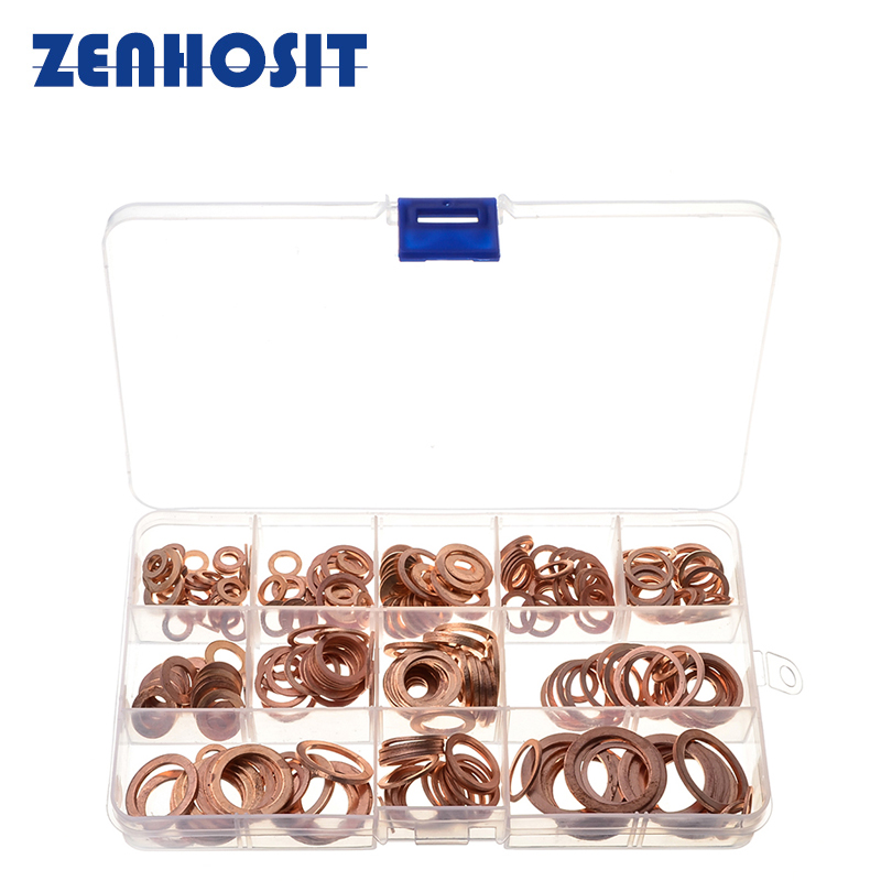 280pcs M5/6/8/10/12/14/16/20 High Quality Solid Copper Washers Gasket Set Seal Flat Ring Washers Assortment Kit With Box high quality excavator seal kit for komatsu pc200 5 bucket cylinder repair seal kit 707 99 45220