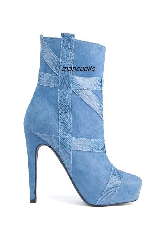 Spike Plaine Côté Bottines Bottes Ciel De Bleu Femmes Aiguille Conception Talon Chic Jolies Plate forme Zip Patchwork Chaussures Simplement 6fq7xZZI