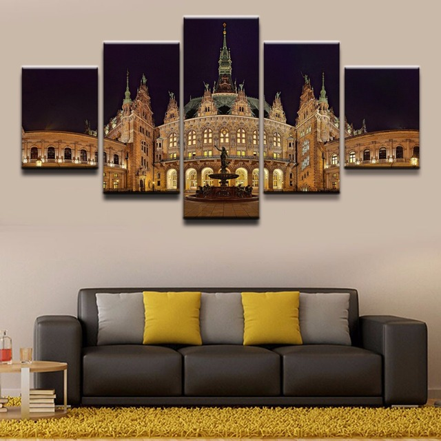 5 panel building fountain germany hamburg statue canvas print painting for living room wall art. Black Bedroom Furniture Sets. Home Design Ideas