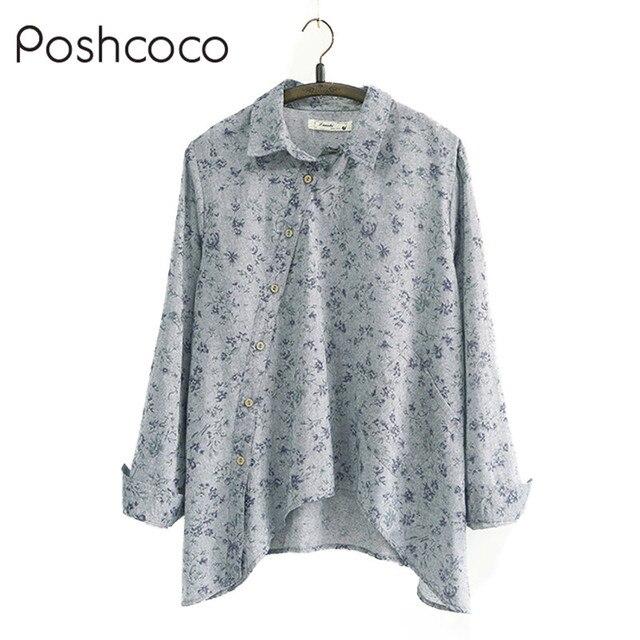 11fdf62682d Poshcoco Blusa Plus size Cotton Linen Unicorn Desigual Loose Irregular  White Women Fitness Blouse Top 2017 Summer Women's Blusas