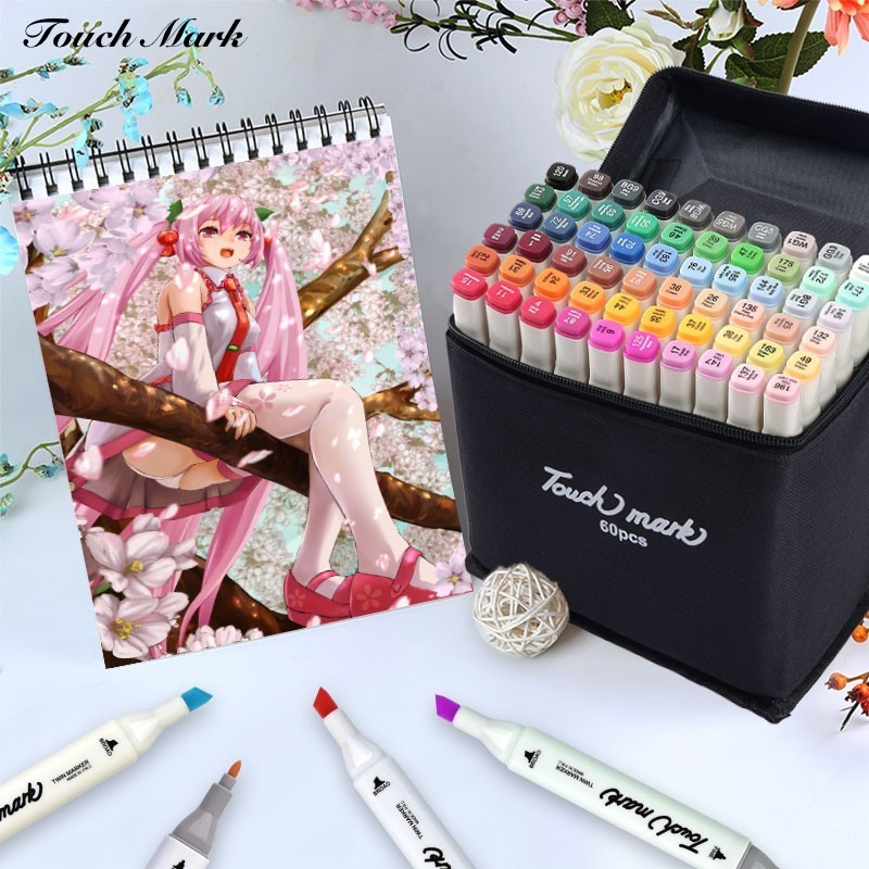 168 Colors Touch Mark Sketch Art Markers Brush Set Dual Headed Oily Alcohol Manga Animation Design Drawing Painting Art Supplies