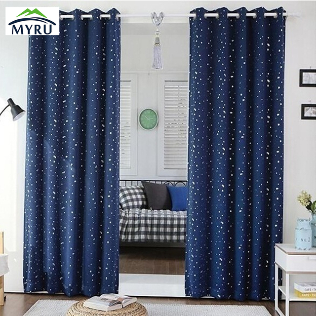 1 Panel Grommet Top Navy Star Curtains For Children Kid Baby Room