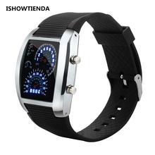 f90121e3a 2019 ساعة رقمية الرجال توربو clock Dial فلاش LED ووتش الرجال أفضل هدية  سيارة متر الرقمية