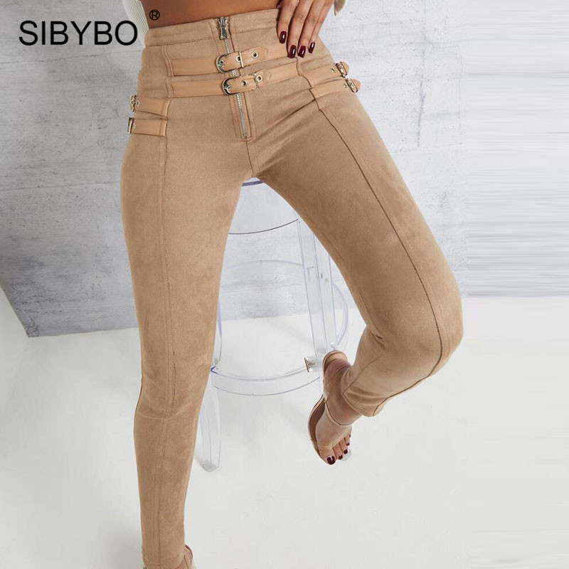 SIBYBO Suede Skinny High Waist Casual Women Pants Fashion Belt Buckle Pencil Pants Women Solid Autumn Sexy Trousers Women 2019