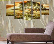 MODERN ABSTRACT HUGE LARGE CANVAS ART OIL PAINTING  5P autumn landscape paintings no framed