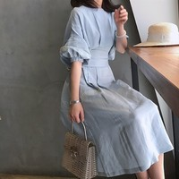 LANMREM 2018 New Fashion O neck Asymmetry Draped Bandage Waist Sashes Lantern Half Sleeve Cotton Linen Female's Dress RA468