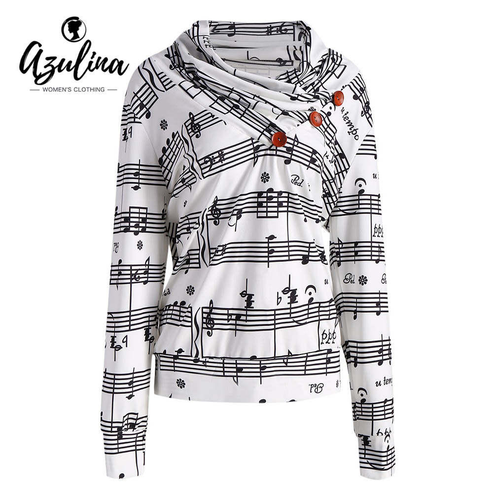 AZULINA 2017 Fashion Women Musical Notes Printed Hoodies Autumn Winter Long Sleeve Casual Cowl Neck Button Sweatshirt Pullovers