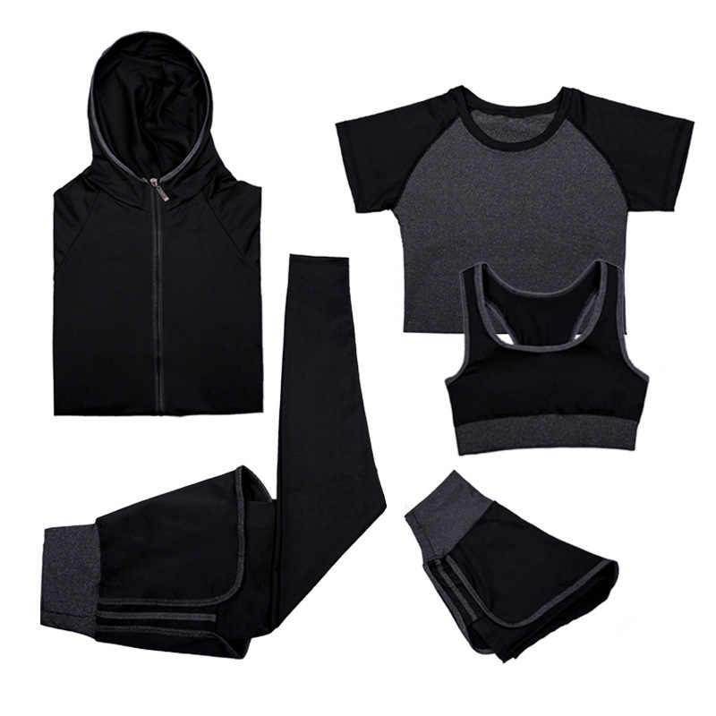Voobuyla костюмы для занятия йогой Женская одежда для фитнеса спортивный костюм для бега спортивный бюстгальтер + спортивные Леггинсы + шорты для йоги + куртка 5 шт. комплект плюс размер
