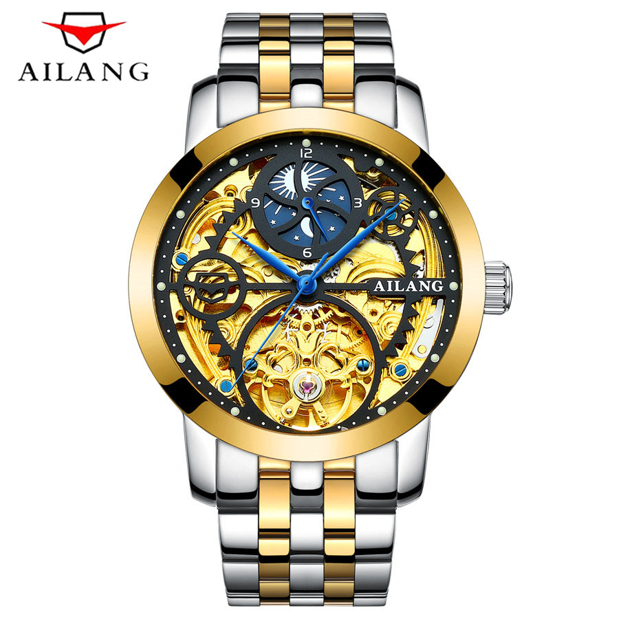 AILANG Classic Series Golden Movement Stainless Steel Mens Skeleton Watch Top Brand Luxury Fashion Automatic Watch Moon phase