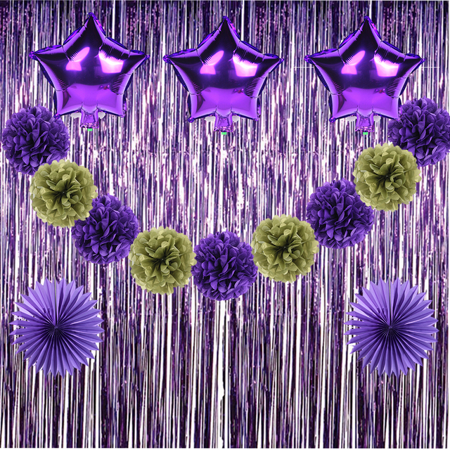 16pcs Purple And Gold Party Decorations 2017 Paper Pom Poms Curtain Decor  For Purple Baby Shower