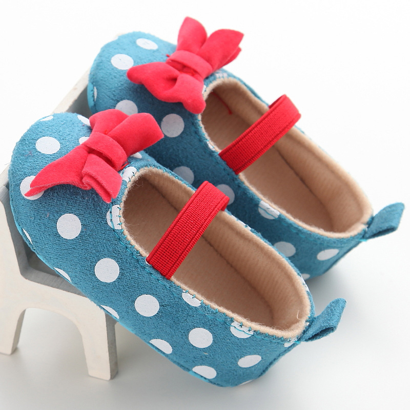Raise Young Spring Summer Cotton Baby Girl First Walkers Butterfly-knot Polka Dot Toddler Girl Shoes Newborn Infant Footwear