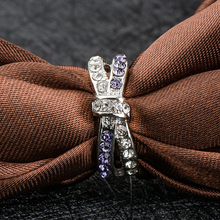 H:HYDE Cheap Promotional Price Silver Color Purple CZ Crystal Bowknot Wedding Ring for Women Anel bague Ring Size 6 7 8 9 10