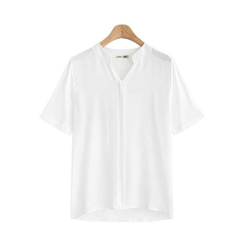 Camisa white Negro Tamaño V Calidad cuello Mujer Photo Más Chiffon Femenino Ropa Alta Blusa See 5xl Blanco Tops Transpirable Casual Verano Señoras Black Photo nBxtf7Tx