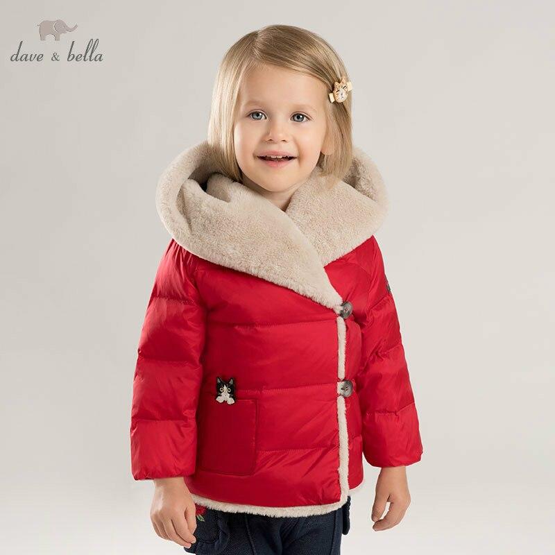 DB8964 dave bella baby girls winter Down jacket children 90% white duck down outerwear fashion solid coat цена 2017