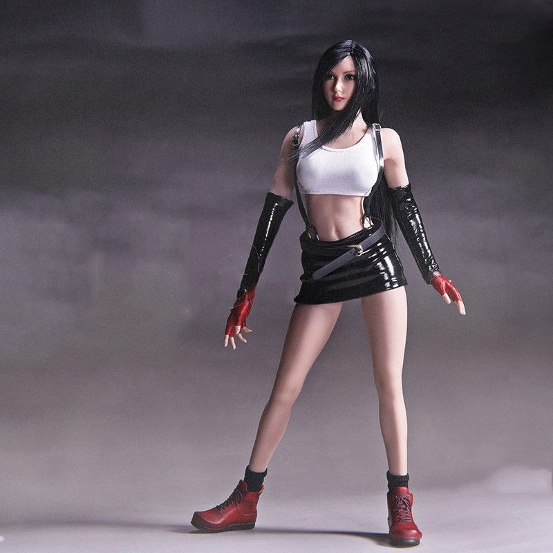 1/6 Tifa Lockhart Head Sculpt and Clothes Models For 12 inches Action Figure 1 6 scale the game of death bruce lee head sculpt and kungfu clothes for 12 inches figures bodies