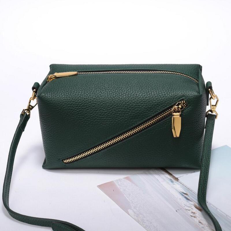 luxe green Genuine Leather Women Messenger Bags zipper Crossbody Bag Female Fashion Shoulder Bag for women Clutch Small Handbags