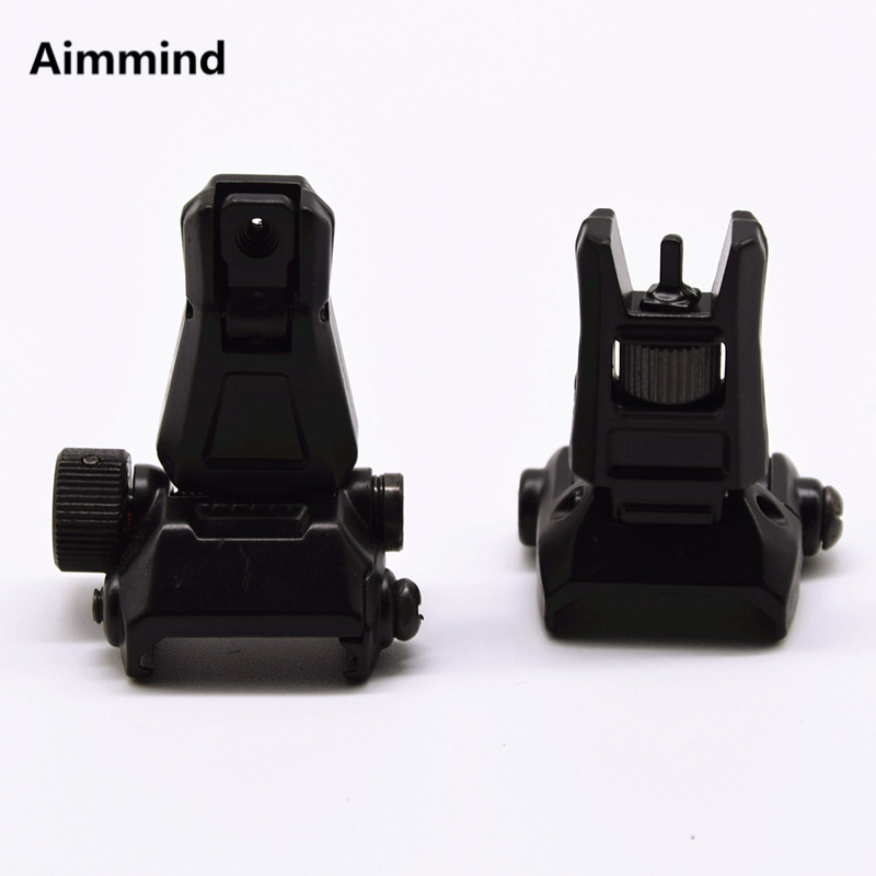Profil bas tactique Flip Up Sight Iron Sight Set avant arrière pour 20mm Rail
