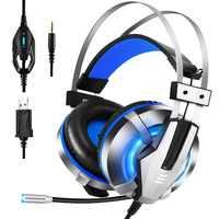 Eksa gaming headset para ps4, pc, xbox um controlador, cancelamento de ruído sobre fones de ouvido de orelha com microfone, luz led, surround de graves
