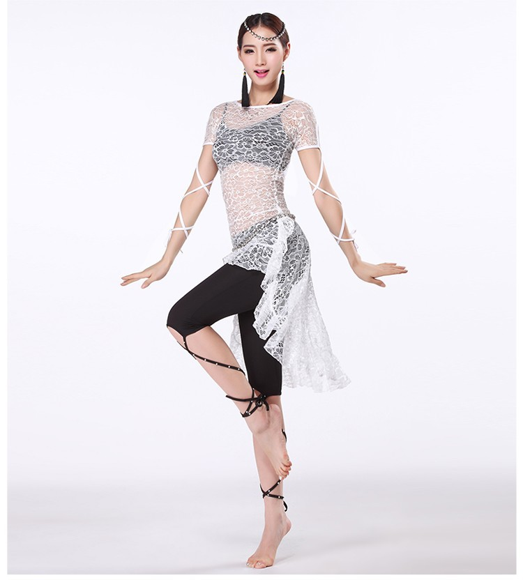 66dbdef44 Belly Dance Training Clothes Women Swallow Tail Dress with Black ...