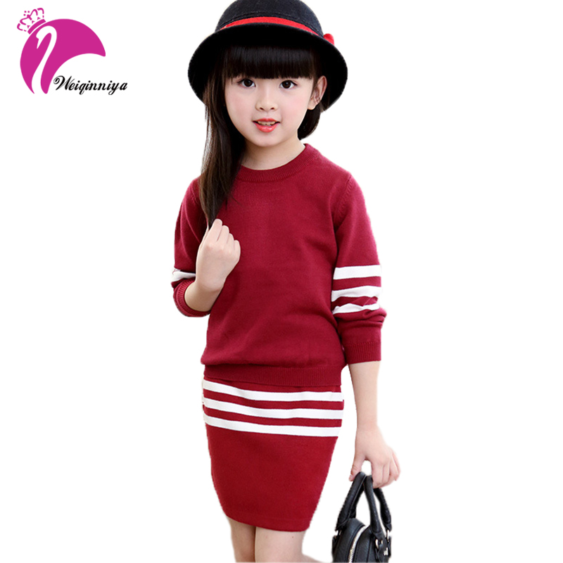 New Arrival Girls Knit Sweater Skirt Clothing Set Winter Striped Kids Clothes Pullover Sweater Tees+ Knitting Skirt 2 Piece Suit invisible green simple design pullover knit sweater